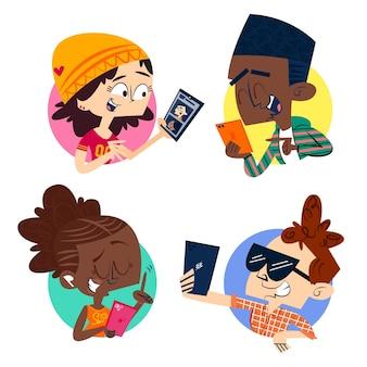 Colección de jóvenes que usan teléfonos inteligentes.