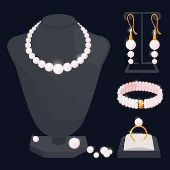 Colección de joyas de perlas: collar, aretes, anillo y pulsera