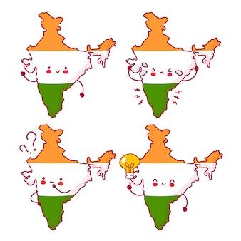 Colección de juego de caracteres de bandera y mapa de india divertido feliz lindo. icono de ilustración de personaje de kawaii de dibujos animados de línea. sobre fondo blanco. concepto de india