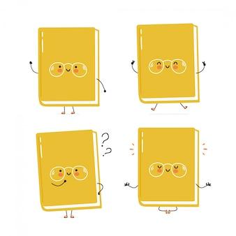 Colección de juego de caracteres lindo libro feliz. aislado en blanco diseño de ilustración de personaje de dibujos animados de vector, estilo plano simple. libro caminar, entrenar, pensar, meditar concepto