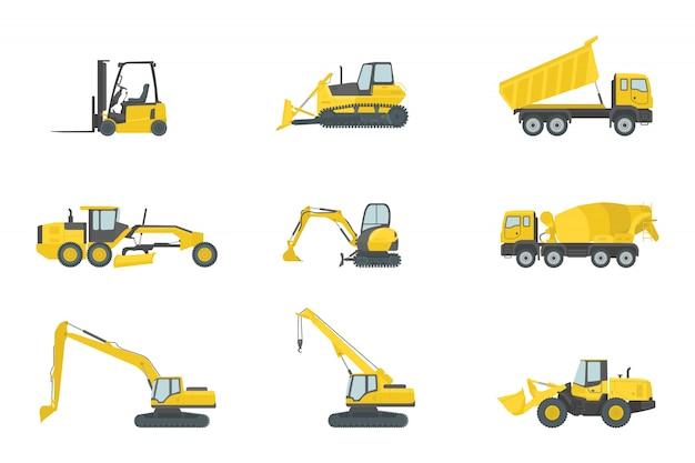 Colección de juegos de construcción de camiones pesados