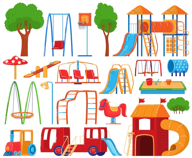Colección de juegos infantiles, conjunto de iconos en blanco, equipo de niños de jardín de infantes, ilustración