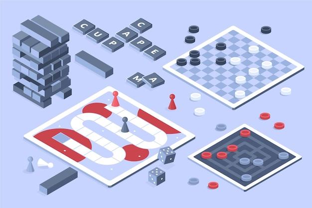 Colección de juegos de mesa diseño isométrico.