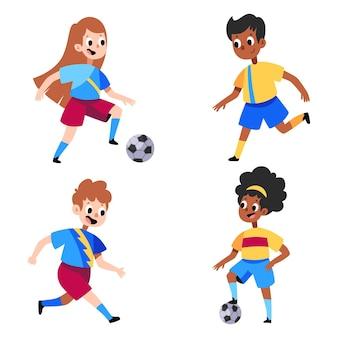 Colección de jugadores de fútbol de dibujos animados