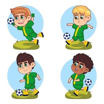 Colección de jugadores de fútbol estilo dibujos animados