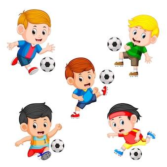 Colección de jugadores de fútbol infantil