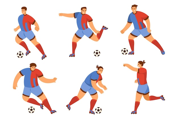 Colección de jugadores de fútbol planos