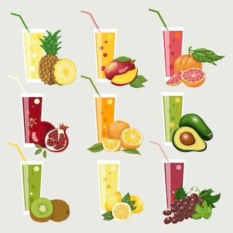 Colección de jugos de frutas exóticas.