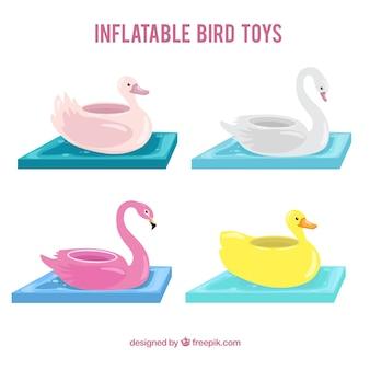 Colección de juguetes inflables de pájaros