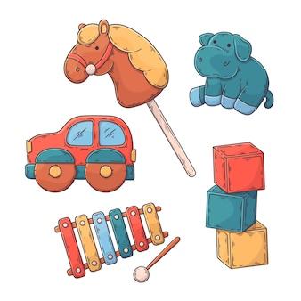Colección de juguetes navideños dibujados a mano