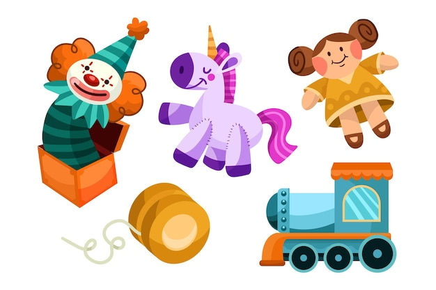 Colección juguetes navideños dibujados a mano