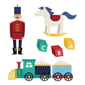 Colección de juguetes navideños de diseño plano