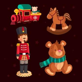Colección de juguetes navideños en diseño plano