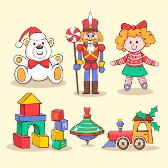 Colección de juguetes para niños dibujados a mano