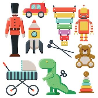 Colección de juguetes para niños en nochebuena