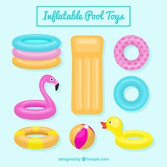 Colección de juguetes de piscina inflables