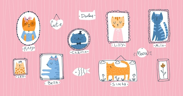 Colección kitty. retratos de mascotas de gato en estilo infantil de dibujos animados escandinavos dibujados a mano simple. coloridos animales lindos del doodle en marcos sobre un fondo rosa con apodos.