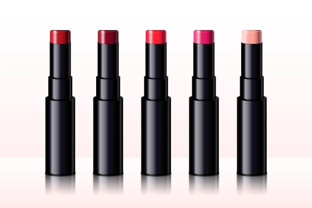 Colección de labiales realistas con diferentes colores.