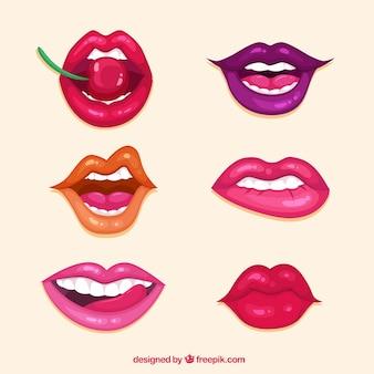 Colección de labios con colores diferentes