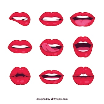 Colección de labios femeninos con estilo de 2d