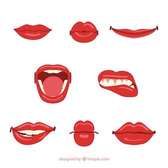 Colección de labios rojos con diseño plano