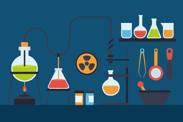 Colección de laboratorio de ciencias dibujada a mano