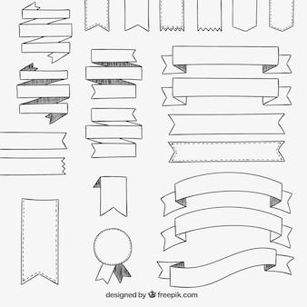 Colección de lazos dibujados a mano