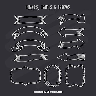 Colección de lazos, marcos y flechas en estilo pizarra