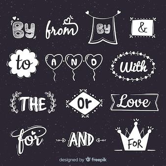 Colección de lemas de boda dibujados a mano
