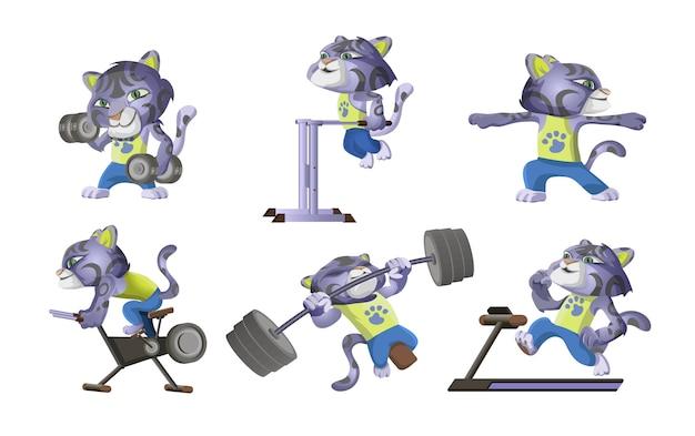 La colección de leopardo de las nieves se dedica a los deportes. lindo leopardo levanta pesas, barra, corre en una cinta, bicicleta, flexiones. ilustración de personaje de dibujos animados de entrenamiento