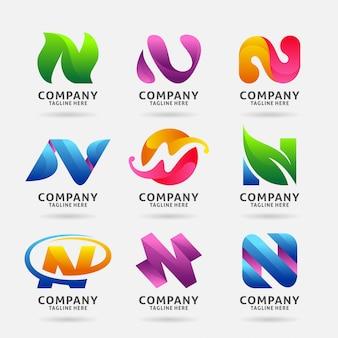 Colección de letra n diseño de logotipo moderno.
