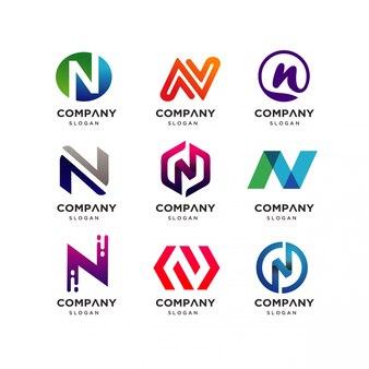 Colección de letra n logo design