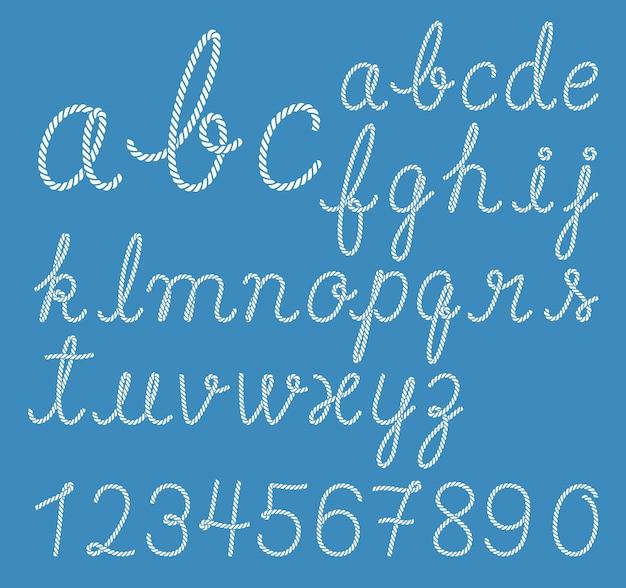 Colección de letras del alfabeto de cuerda
