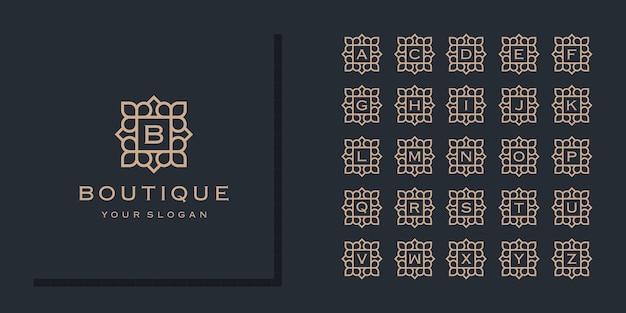 Colección de letras del alfabeto inicial con plantilla de logotipo de marco de flores ornamentales