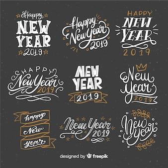 Colección de letras de año nuevo 2019