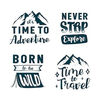 Colección de letras de camping y aventuras