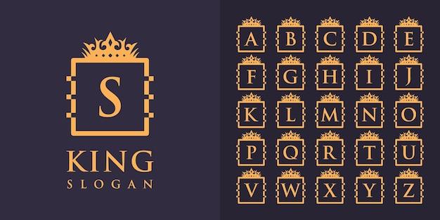 Colección de letras iniciales de la a a la z con un diseño de logotipo de marco de corona