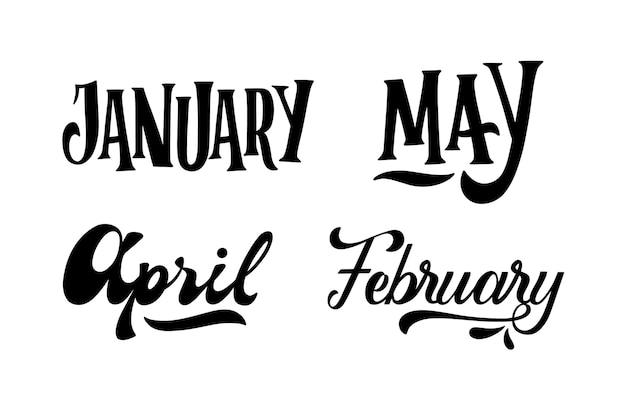Colección de letras meses monocromo