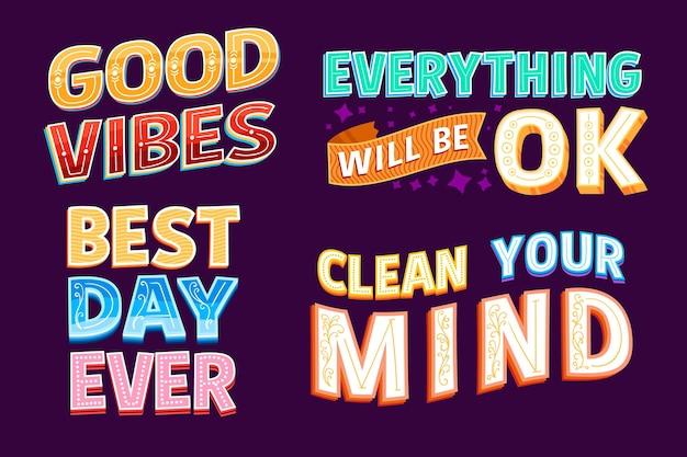 Colección de letras positivas