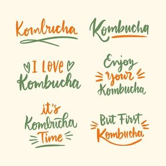 Colección de letras de té de kombucha