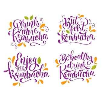 Colección de letras de té de kombutcha