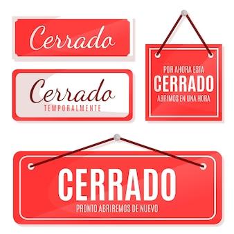 Colección de letreros de cerrado de diseño plano