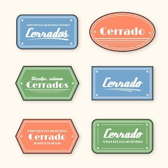 Colección de letreros de cerrado vintage