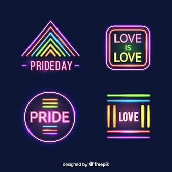 Colección de letreros del día del orgullo lgbt en luz neón
