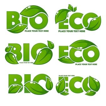 Colección de letreros de hojas brillantes y brillantes, símbolos ecológicos y lemas orgánicos bio