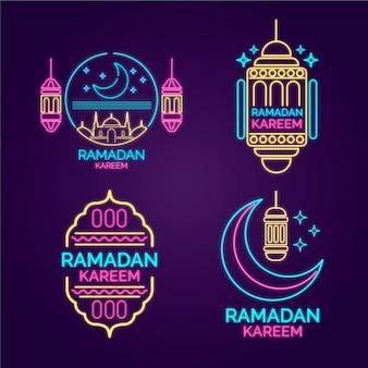 Colección de letreros de luces de neón de ramadán