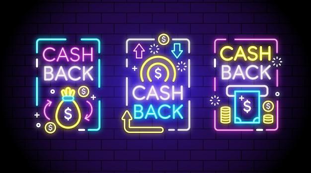 Colección de letreros de neón de devolución de efectivo