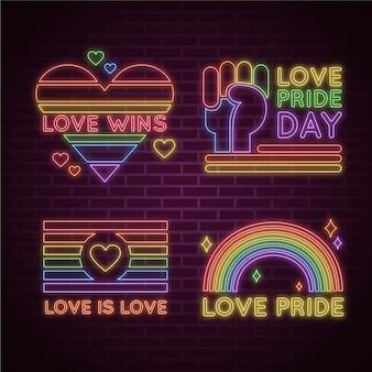 Colección de letreros de neón del día del orgullo