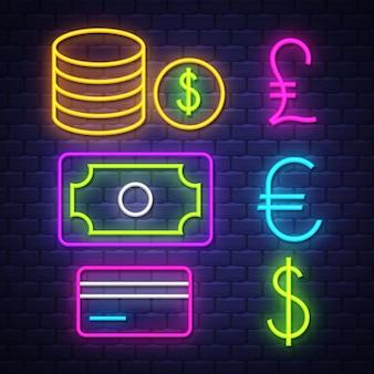 Colección de letreros de neón de dinero y banca
