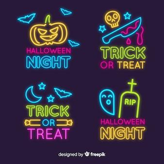 Colección de letreros de neón de elementos de halloween